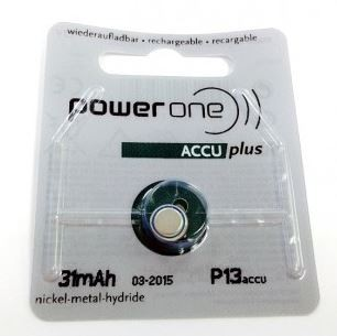 Power One 13 Rechargeable Hearing Aid Battery